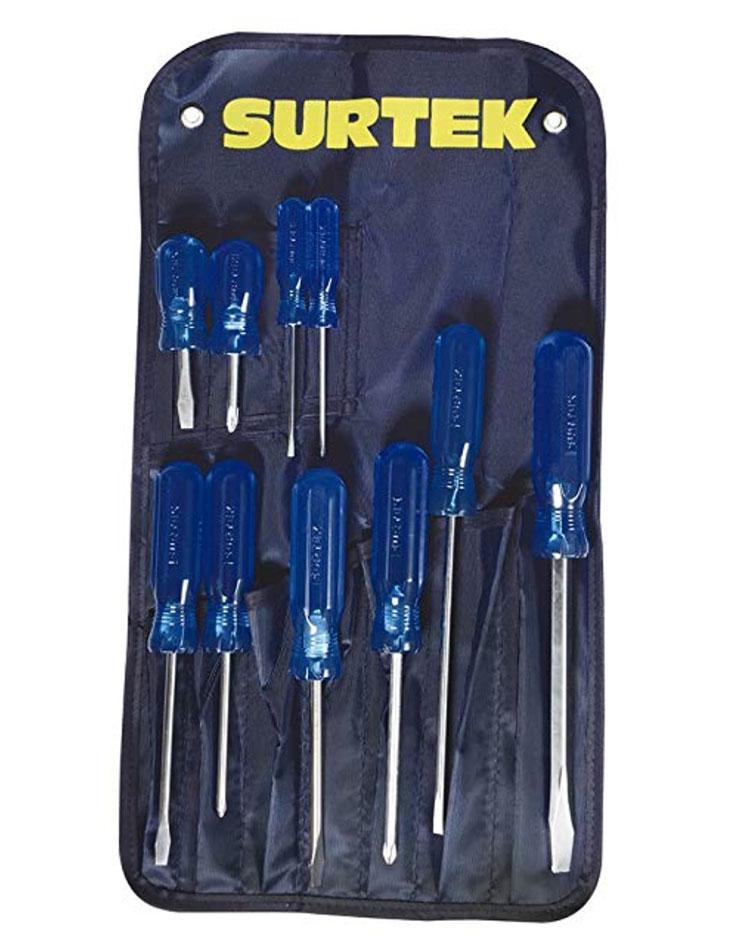 Juego de 10 Destornilladores Combinado Color Azul