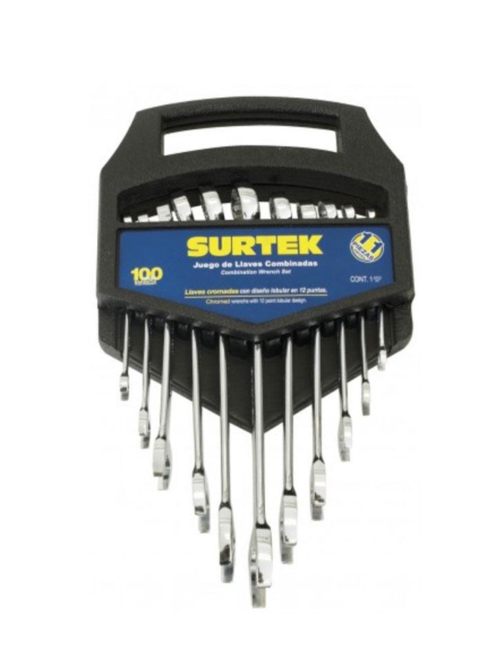 Juego 11 llaves comb satin. 12 puntas métricas rack