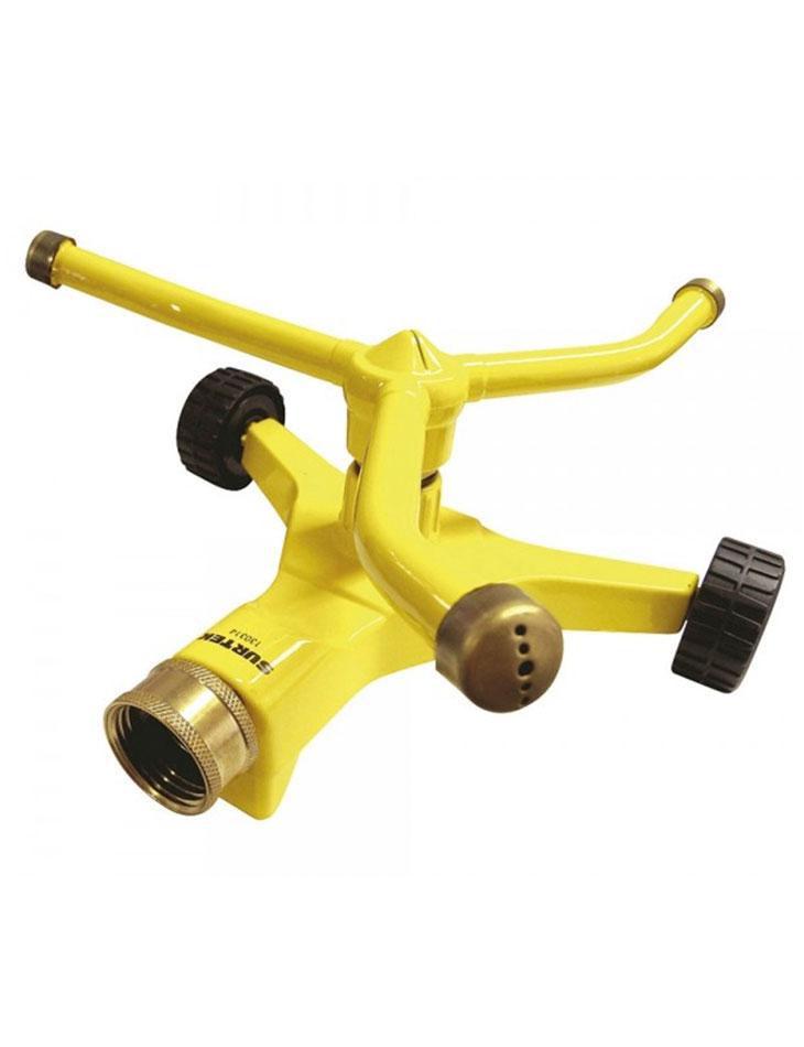 Aspersor estacionario con ruedas giratorio, 3 brazos