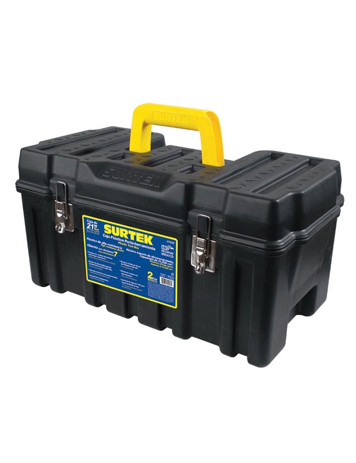 """Caja portaherramientas plástica 21"""" con broches metálicos Surtek"""
